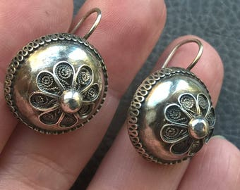 1800's Antique England Sterling Silver Filigree Dome Earrings