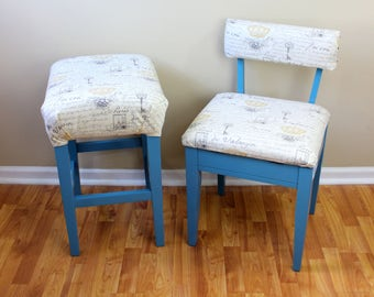 Upcycled Teal Accent Stool and Storage Chair