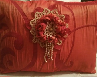 Pillow romantic stylish handmade. Unique piece. Performing custom cushions out of Commission.