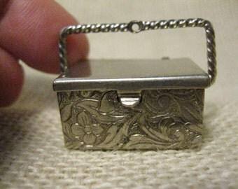 Silver Metal Engraved Scroll Charm / Pill Box