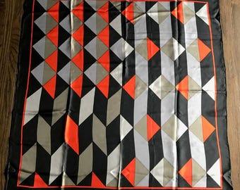 Vintage Triangle Brand Hand Printed Hand Rolled Silk Scarf, Vintage Geometric Silk Scarf, Large Silk Scarf, 1960s 1970s Scarf