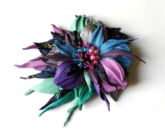 Leather flower brooch, leather flowers, leather anniversary, leather brooch, leather jewelry, leather corsage, accessories, handmade, brooch