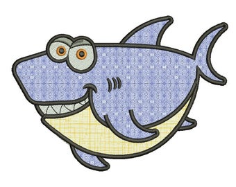 Big shark Applique Design. 8 sizes included. Machine embroidery design. Big shark Embroidery design ,PES, Kids Embroidery