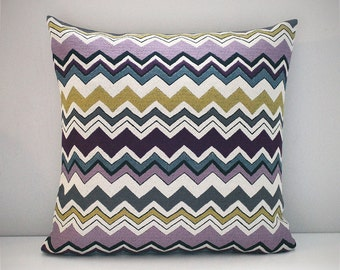 Purple grey yellow off white zig zag tapestry cushion cover