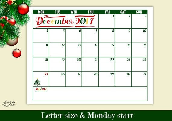 Christmas Calendar December 2017 | Christmas 2017