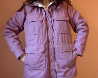 vintage Woolrich hooded parka womens large made in USA rose color pink purple