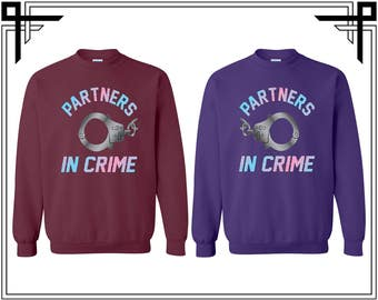 Partners In Crime Handcuff Couple & Bff Couple Crewneck Sweater Crewneck Sweatshirt Sweater Couple Matching Sweatshirt Gift Sweatshirt