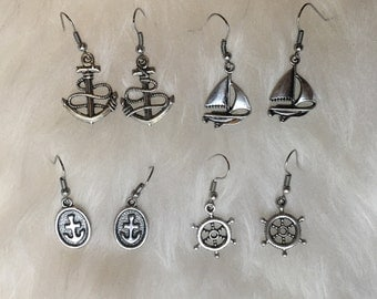 Silver Anchor Ship Helm Nautical Earrings