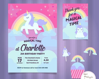 Unicorn party kit. Birthday party theme ' UNICORN '. Available party kit ready-to-use pdf or already fitted.