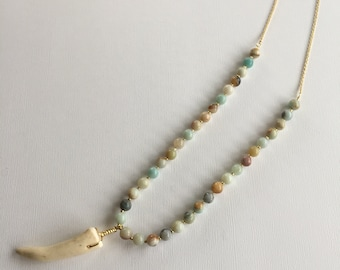Amazonite Antler Tip Necklace