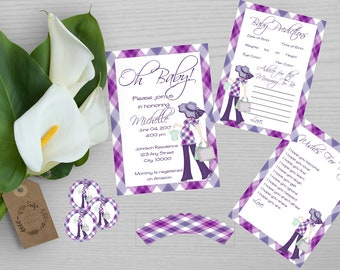 Purple Plaid Baby Shower Set-Purple Baby Shower Invitation-Predictions and Advice-Wishes For Baby-Cupcake Topper and Wrapper-Purple Plaid