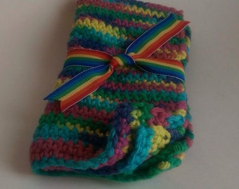 Rainbow Potholders, Hand-Crocheted, Set of 2, 100% Cotton