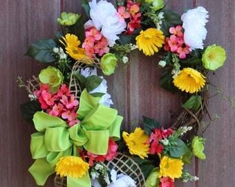 Summer Wreath, Grapevine Wreath, Gerbera Daisy Wreath, Welcome Wreath, Front Door Wreath, Garden Wreath, Floral Wreath, Spring Wreath