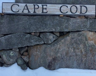 Cape Cod hemlock wood sign with rustic, vintage appearance
