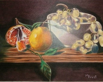 Oranges and Grapes - Colored Pencil Art