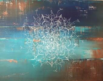 Original painting Mandala art mixed media canvas painting boho art copper teal 60 x 90 cm abstract art