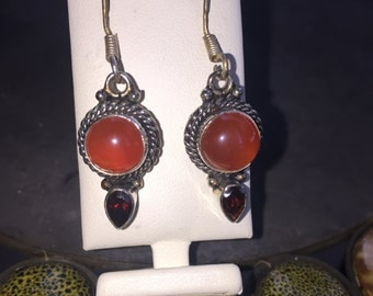 Red onyx and garnet earrings in silver