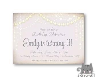 3rd Birthday Invitation / Pink / Garland / Turning Three / Girl's Birthday / Kid's Birthday / Any Age / digital or printed / 14a