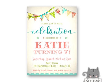 Girl's 7th Birthday Invitation / 1st 2nd 3rd 4th 5th 6th 10th 13th / Fun / Coral / Turquoise / Green / Party Invite / Kid's Birthday/ 98a