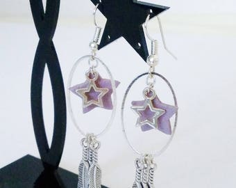 OVALS and stars Purple Leather earrings
