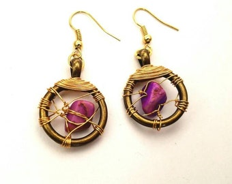 Bronze and gold wire wrapped purple stone earrings
