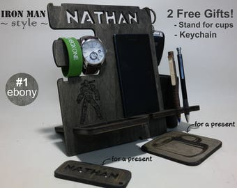 Personalized gift - docking station, fathers day, Gift for dad,  gift for father, iPhone charging stand, gift idea, Men charging iphone dock