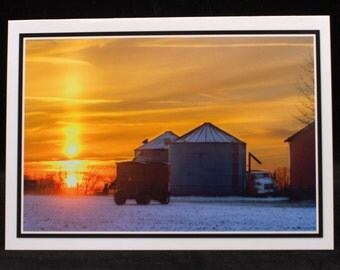 A Cold & Snowy Sunset 5x7 Blank Card By ThomasMinutoloPhotos
