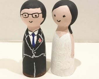 Custom made wooden peg couple dolls