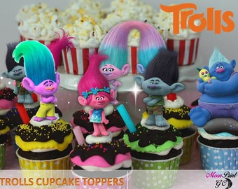 Printable Cupcake Toppers, Trolls Cupcake Toppers, Trolls party, 6 Designs Trolls Cupcake toppers,Digital,Printable