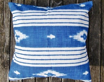 pillow case - blue - white - ethno
