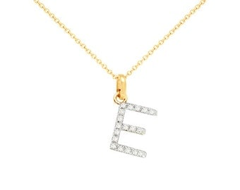 Diamond initial necklace 14k gold