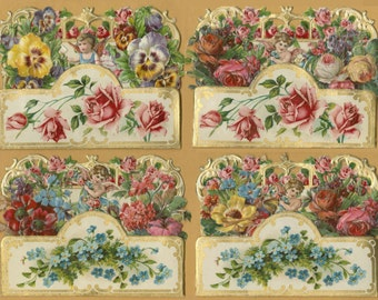 Set of Four 3D Antique Die-Cut, Embossed Cards 3D1K A-1,3- B-1,2