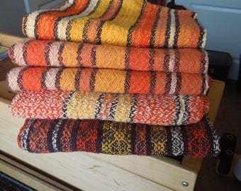 Handwoven Orange Kitchen Towels