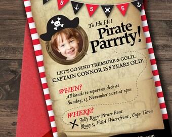 Pirate Party Invitation, Pirate  Invite, Red & Black Pirate Party Invitation, Treasure Map Invitation, Printable, Photo