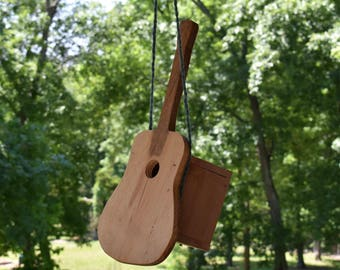 Handmade Outdoor Pine & Cedar Birdhouse Acoustic Guitar with Strap for Music Lovers and Songbirds