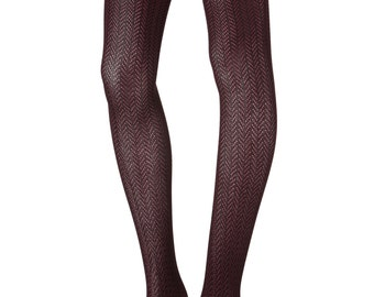 Herringbone, Pointelle, 2 Tone color, Tights, Footless tights, legging, Hosiery, Boot Socks, Gift for Her