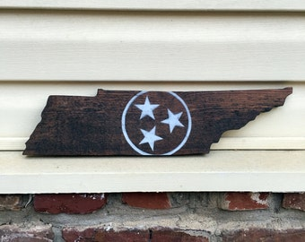 Tennessee State Shape Cutout With White Tristar Rustic Home Decor Wall Hanging Sign 16