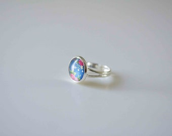 Glass Cabochon Ring,  Blue Floral in Silver plated adjustable ring
