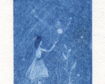 """Original mezzotint print """"Fireflies"""""""