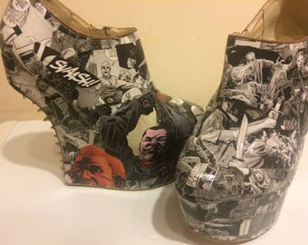 walking dead shoes / wedges - made to order - designs always vary