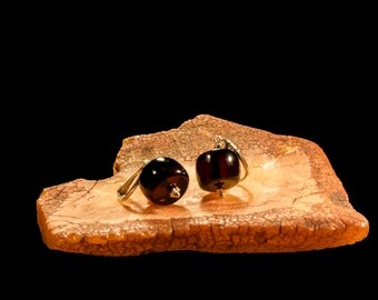 "Amber Earrings with Silver ""Dark Tibet. Small"""