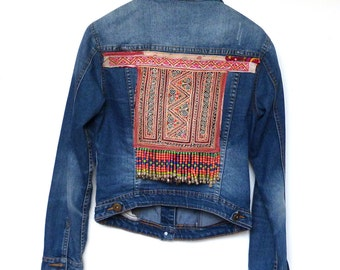 Denim Jacket embroidered with Thai Hill Tribe textiles size 8