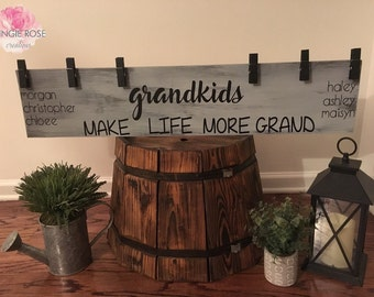 Grandkids Make Life More Grand/ Brag Board/ Grandkids Photo Holder/ Grandkids Picture Hanger/