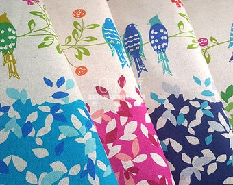 Echino standard 2017 cotton linen Japanese Fabric - Bird song 50cm