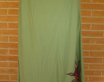 Green skirt with reason organic cotton Maxi / MAXI Skirt Organic Cotton green with motif