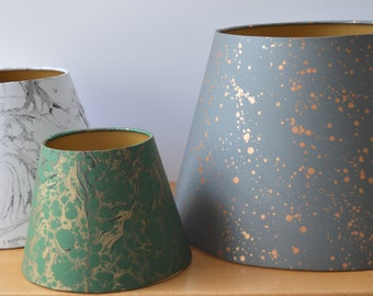 Custom made Hand Marbled Paper Lampshades. Made to Order in any size and colour. Empire and Cylinder Drum Lampshade shapes