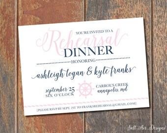 Printable Nautical Rehearsal Dinner Invitation. Sailor's Wheel. Helm. Pink & Navy Invitation.