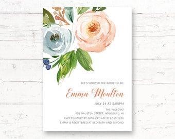 Romantic Floral Bridal Shower Printable Invitation, Elegant, Simple, Rustic, Botanical Custom Printable Invite