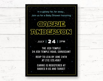 Star Wars Baby Shower Printable Invitation, Custom Printable Invite