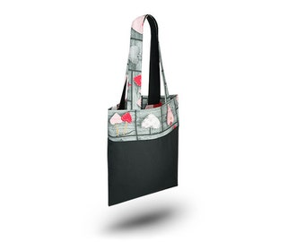 Cotton Bag Loxia Shopping bag Cotton tote bag  - Rainbow  Black hearts